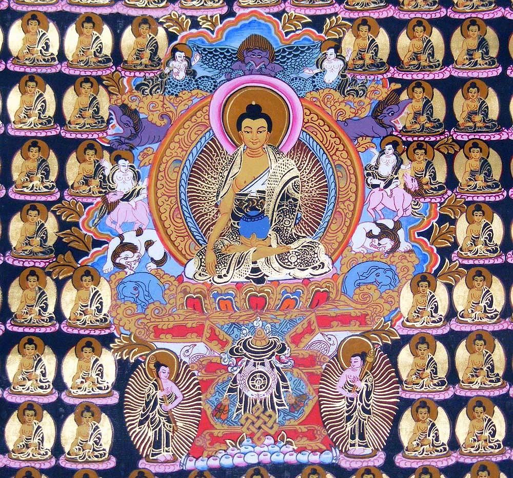 Buddha arts&more - GAUTAMA BUDDHA THANGKA IM BROKATRAHMEN