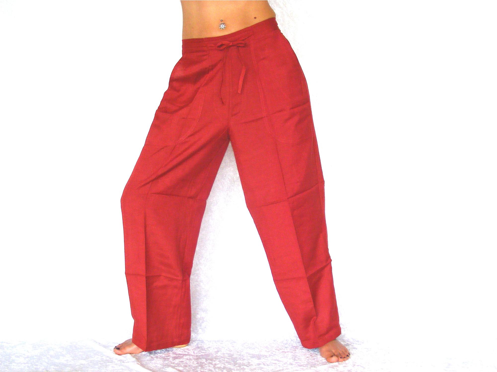 buddha arts more mega bequeme rote yoga freizeit hose aus 100 leinen. Black Bedroom Furniture Sets. Home Design Ideas