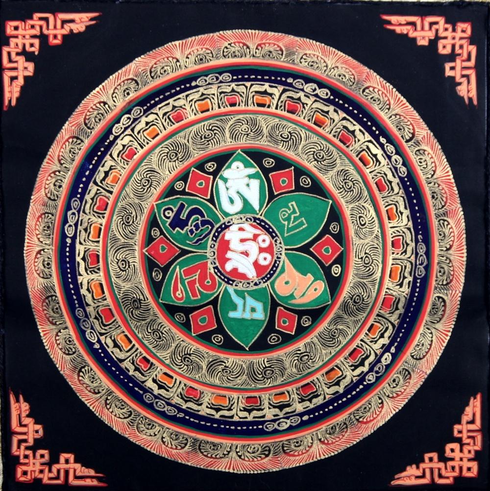 Buddha arts&more - OM MANDALA THANGKA IM BLAUEN BROKATRAHMEN NR:3