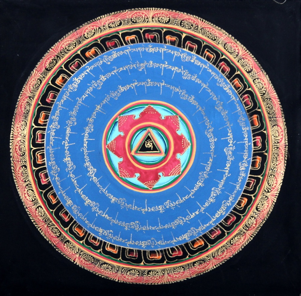 Buddha arts&more - OM MANDALA THANGKA IM BLAUEN BROKATRAHMEN NR:4