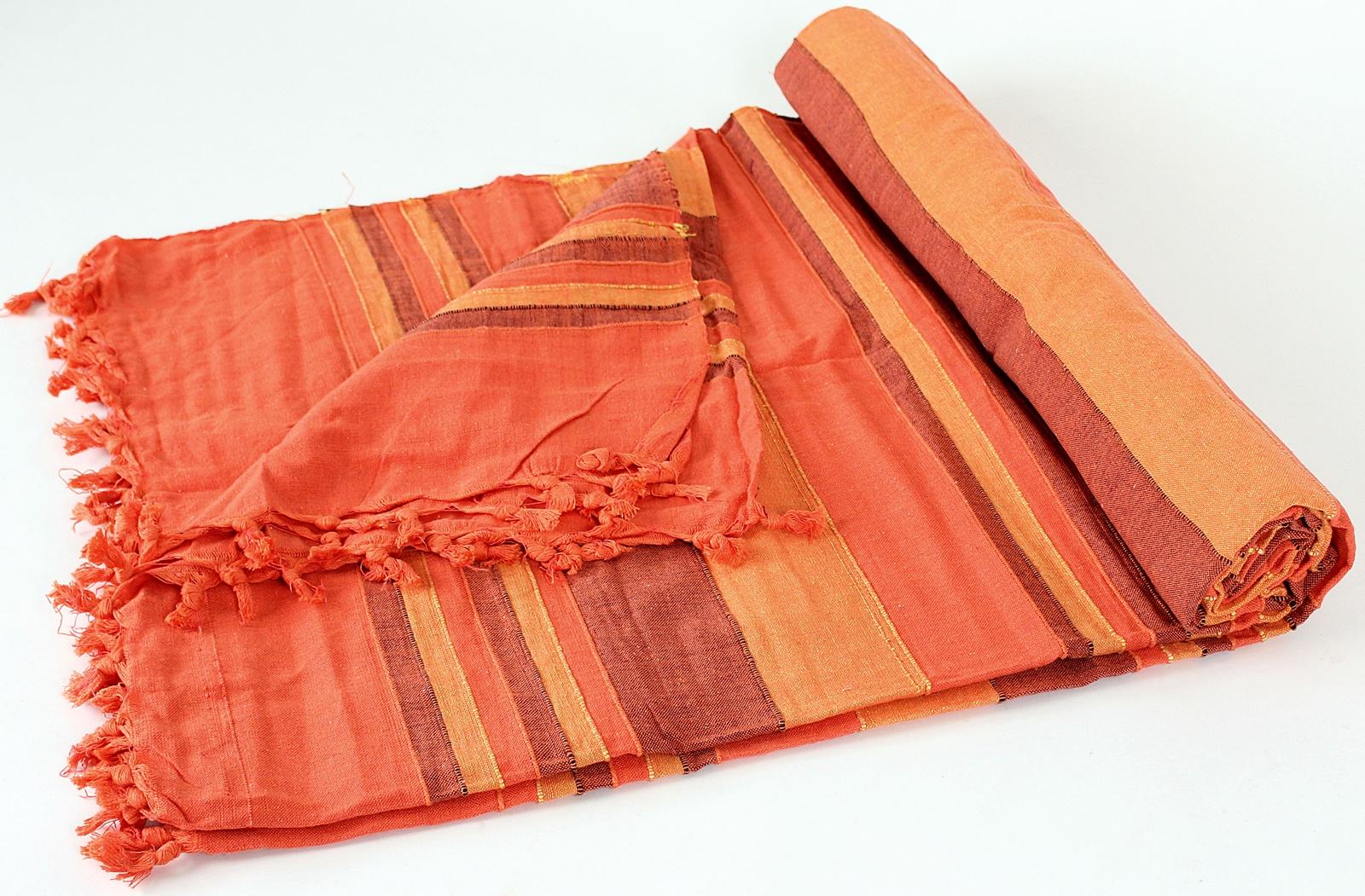 buddha arts more orange gestreifte gewebte tagesdecke. Black Bedroom Furniture Sets. Home Design Ideas